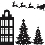 Raamsticker Kerst zwart