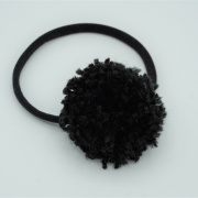 Haarbandje black pompom XL
