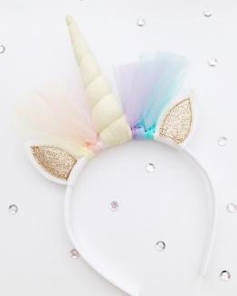 Unicorn diadeem pastelgeel goud