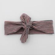 Wrap haarband roze grijs gestreept