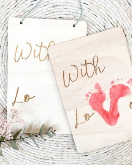 "DIY houten bord ""with love"""