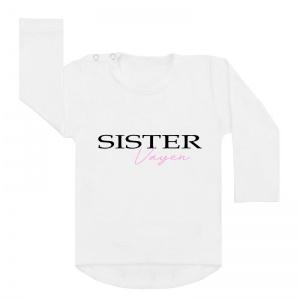 Sister en naam shirt wit