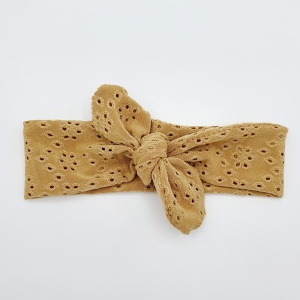 Wrap haarband broderie camel