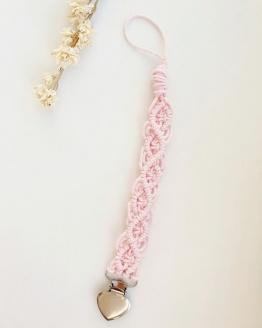 Handgemaakt roze macrame speenkoord