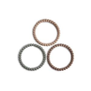 Mushie bijtspeelgoed parel armbanden aardetinten